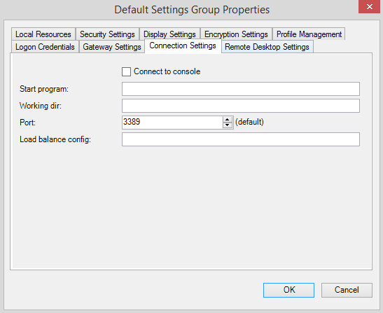 default setting group connection setting