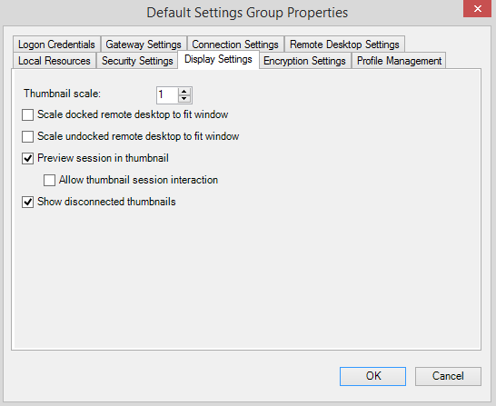 default setting group display settings