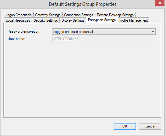 default setting group encryption setting