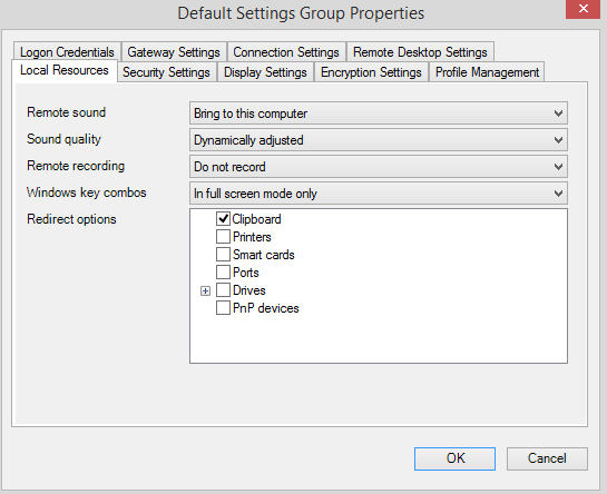 default setting group local resources