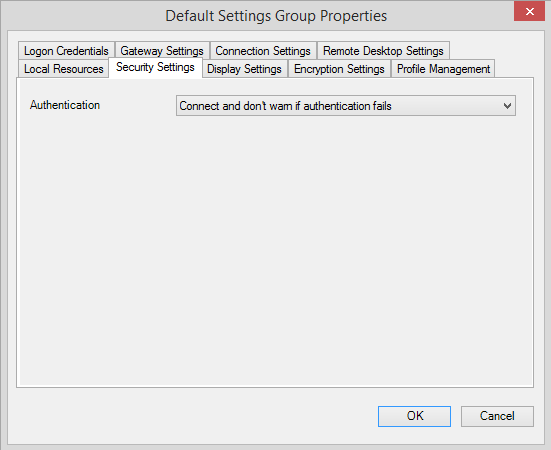 default setting group security setting