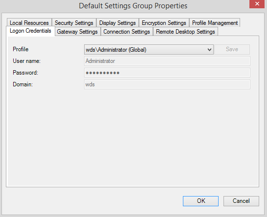 default setting groups logon credential