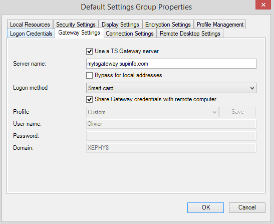 default setting ts gateway fill